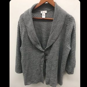 Grey Knit Cardigan with Button Front - 1X